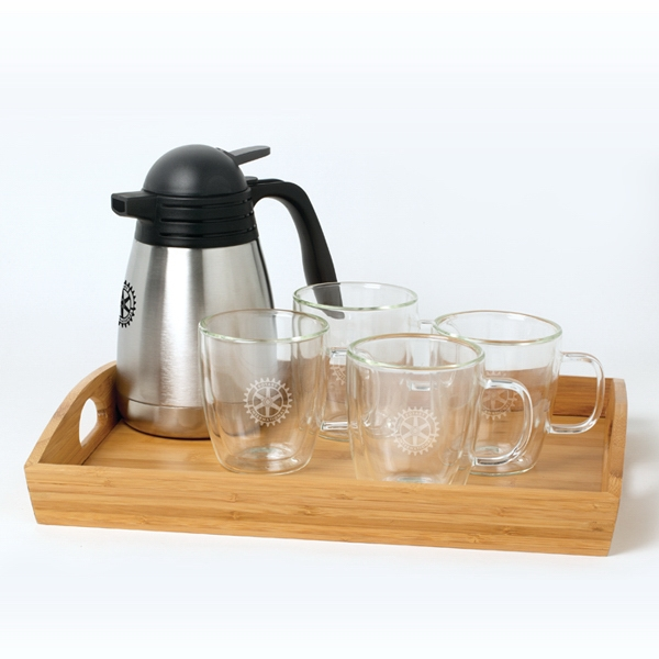Binara - Mug Set, Features Two 13 Oz. Glass Mugs, Bamboo Tray And Carafe Photo