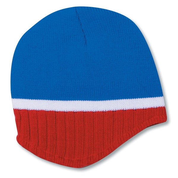 100% Acrylic Knit Beanie With Trim And 100% Polyester Fleece Lining. Blank Photo