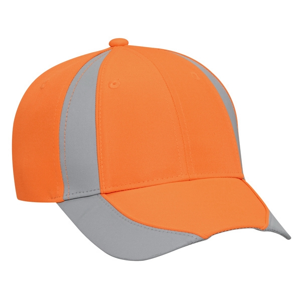 Neon Deluxe Polyester Twill Pro Style Cap With Reflective Piping Design. Blank Photo