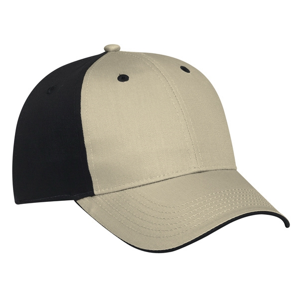 Two Tone Cotton Twill Flipped Edge Visor Pro Style Cap. Blank Photo