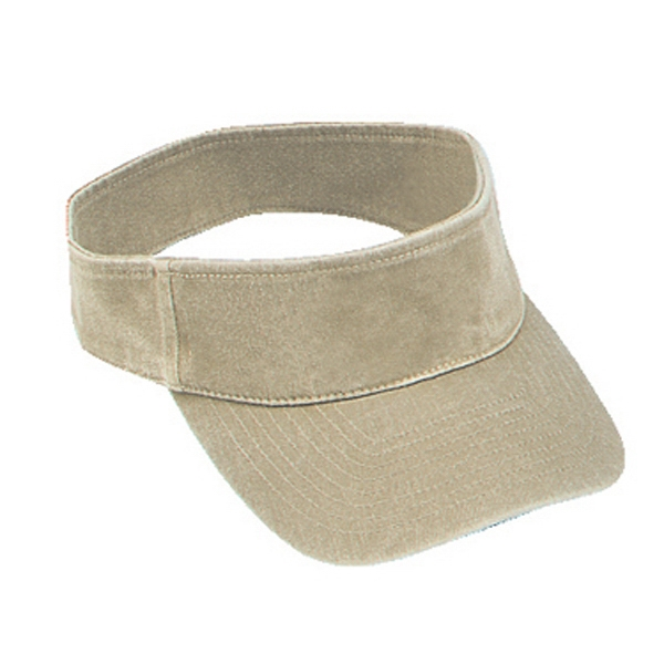 Washed Pigment Dyed Cotton Twill Flexible Fit Sun Visor, Solid Colors. Blank Photo