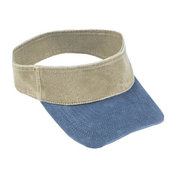 Two Tone Washed Pigment Dyed Cotton Twill Sun Visor With Flexible Fit. Blank Photo