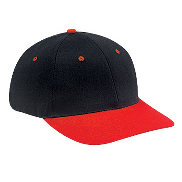 Two Tone, Low Fitting Six Panel Pro Style Cap With Soft Crown. Blank Photo