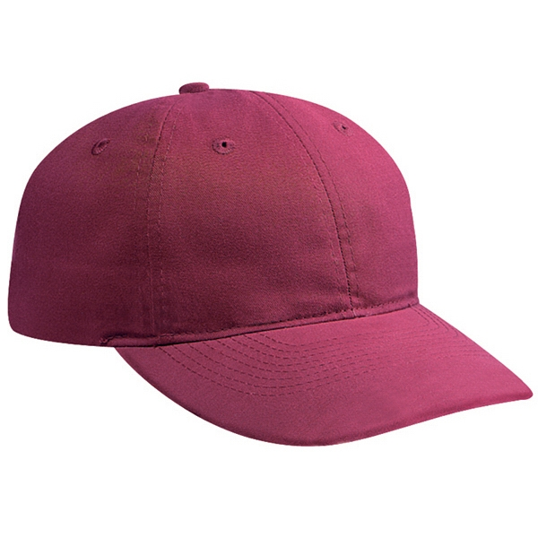 Brushed Solid Color Twill Six Panel Pro Style Cap With Plastic Snap. Blank Photo