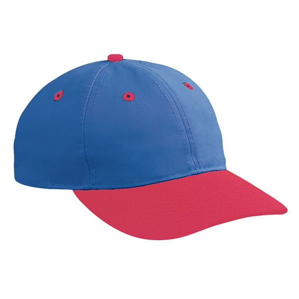 Two Tone, Unstructured Six Panel Pro Style Cap With Plastic Snap Closure. Blank Photo