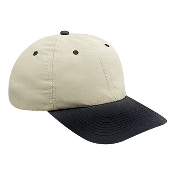 Two Tone Microfiber Polyester Low Profile Six Panel Pro Style Cap. Blank Photo