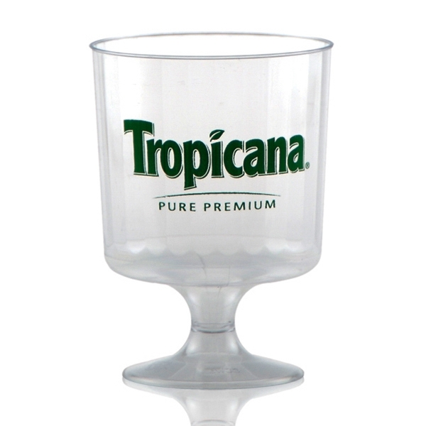 8 oz Clear Fluted Plastic Footed Wine Cup - Tradition