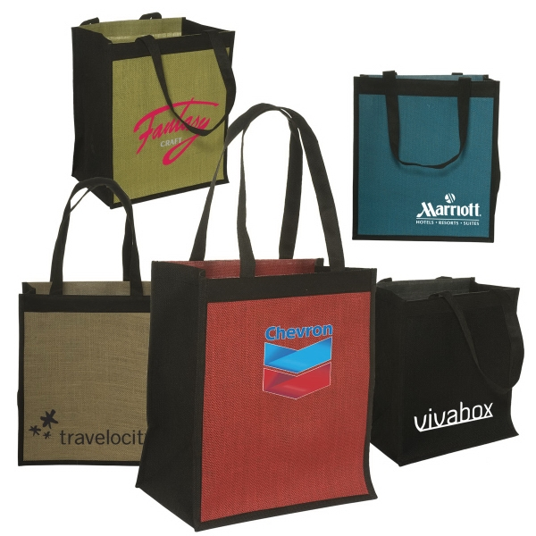Eco-responsible (tm) - Jute/non-woven Shopping Tote With Cardboard Reinforced Bottom Photo