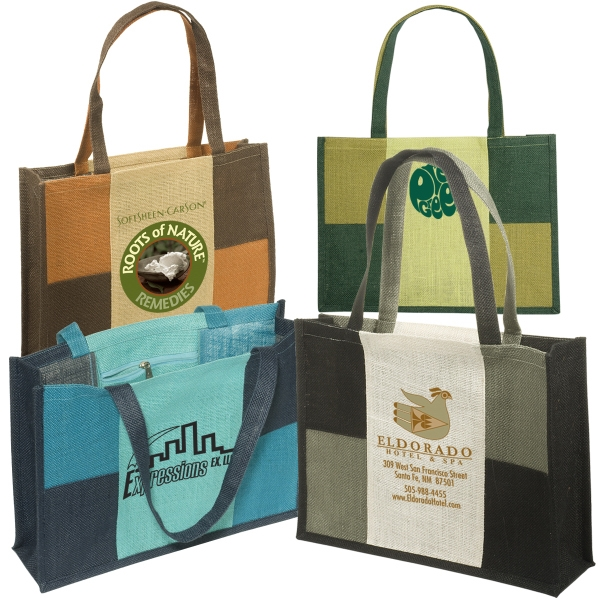 City Square Eco-responsible (tm) - Jute Tote With Laminated Interior With Zippered Pocket Photo