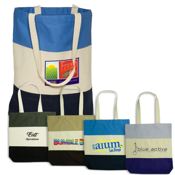 Walkabout Eco-responsible (tm) - Cotton Tote With Contrasting Panels. Closeout Photo