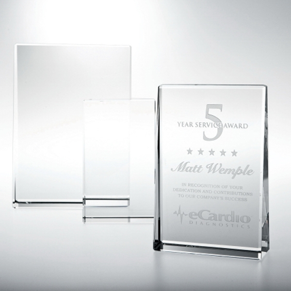 "6"" X 4"" X 1 3/8"" - Optical Crystal Plaque Photo"