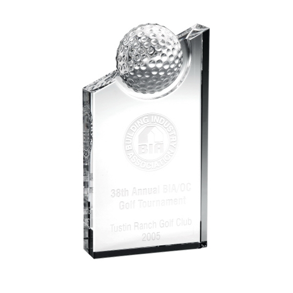 "Clubhouse - 6"" X 4"" X 1 3/16"" - Crystal Golf Award With Angled Top And Golf Ball On Top Photo"
