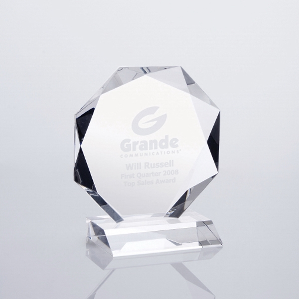 "Glacial - 8 3/4"" X 8"" X 3"" - Optical Crystal Tabletop Plaque Award On Crystal Base Photo"