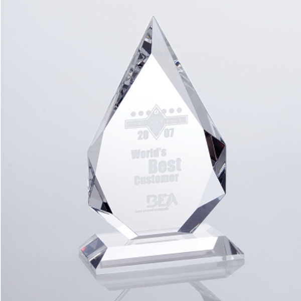 "Prestige Flame - 6 3/4"" X 4"" X 3"" - Optical Crystal Tabletop Plaque Award On Bevel Cut Base Photo"