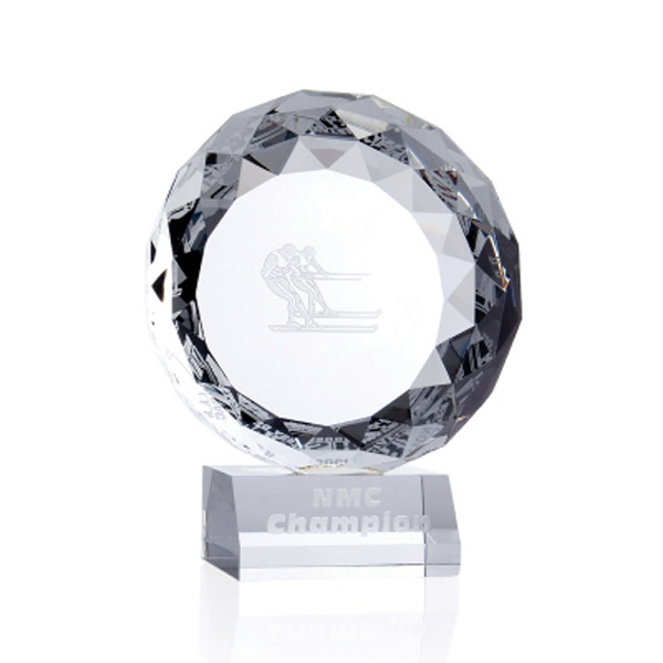 "Hope - 5"" X 4"" X 2 3/16"" - Round Highly Faceted Crystal Tabletop Plaque Award On Crystal Base Photo"