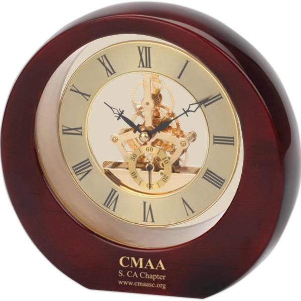 Piano Wood (r) - Gold Color Clock Bezel & Moving Gear In A Round Shape Photo