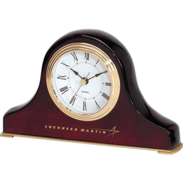 Napoleon Style Mantel Clock With Wood Finish And Gold Bezel Matching Base Photo