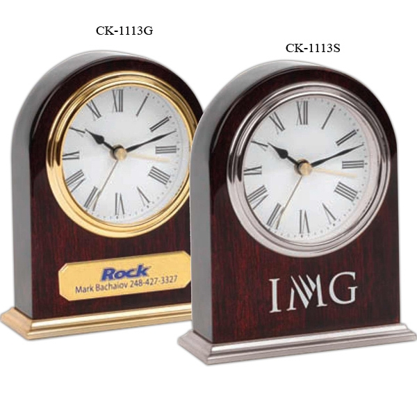 Arched Wooden Desk Silver Alarm Clock Photo