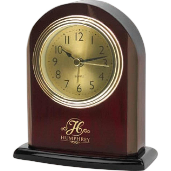 Rosewood Desk Alarm Clock With Classic Arch Shape Style, Gold Color Clock Face Photo