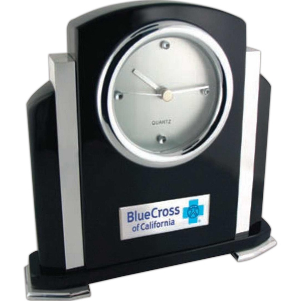 Art-deco Jet Black Finish Clock With Polished Metal And Sparkling Jewels On The Dial Photo