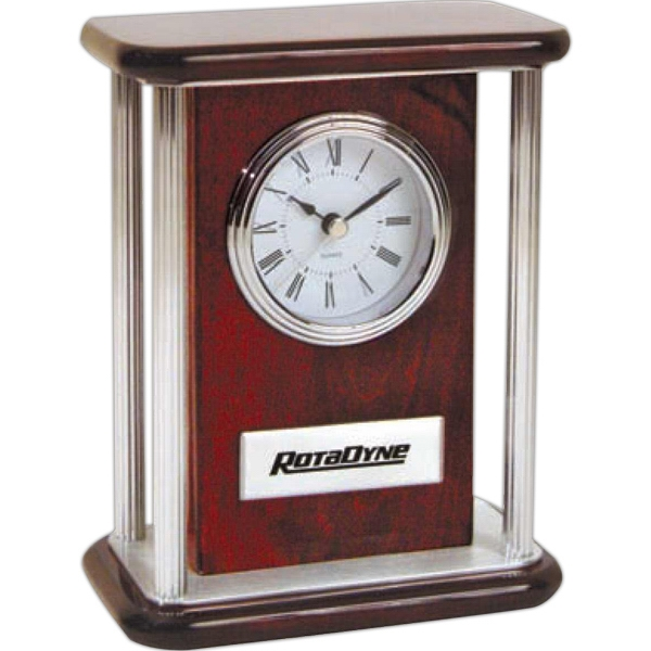 Rosewood Color Mantel Clock With Four Silver Pillars And Silver Trim Photo