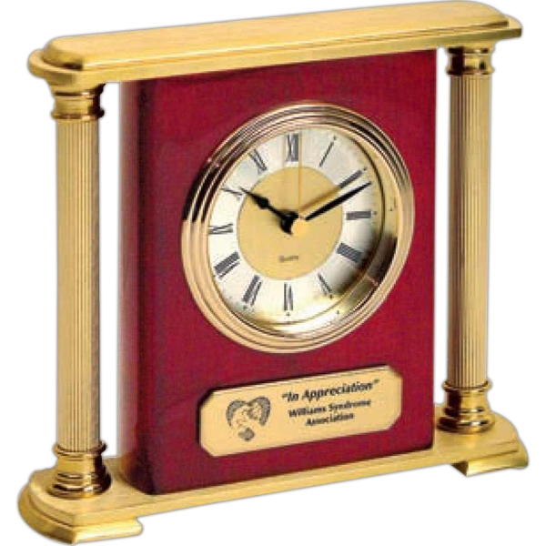 Brass Column Mantel Clock With Elegant Gold Finished Metal Photo