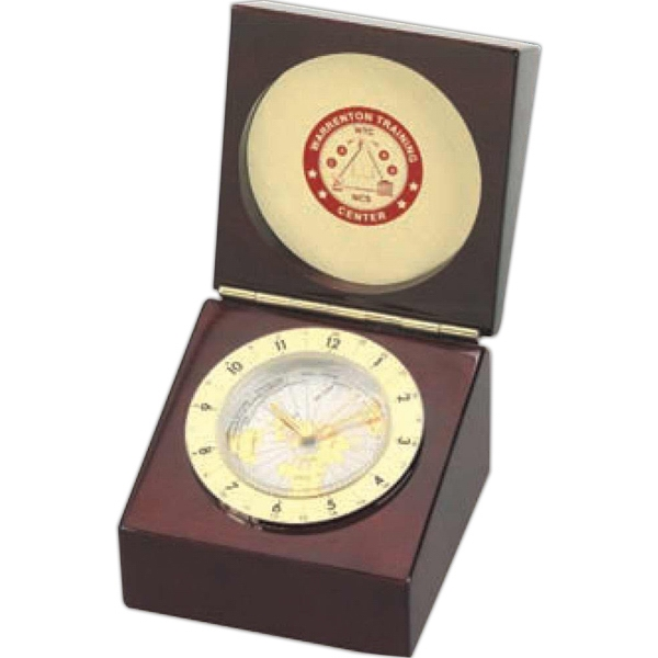 World Time Captain's Clock With Adjustable Dial In Wedge Shaped Case Photo