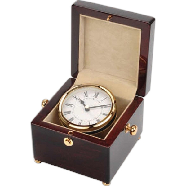 Captain's Clock In A Beautiful Wood Box Photo