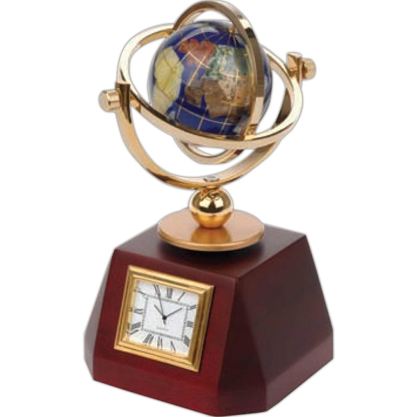 Gemstone World Globe Clock Is Handcrafted With 7 Different Kinds Of Stones Photo