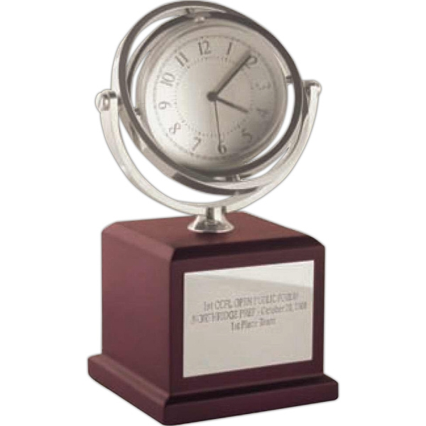 Pedestal Gyro-globe Clock And Frame Mounted On A Matte Finish Mahogany Wood Base Photo