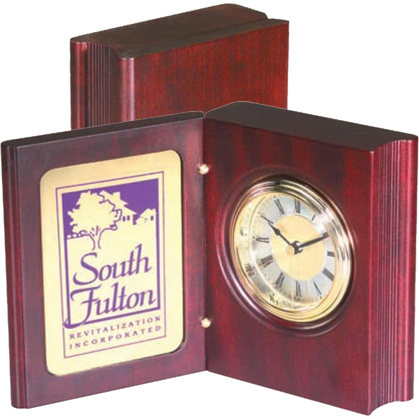 Wood Book Clock Award, Mahogany Satin Finish, Includes Rectangular Brass Plate Photo