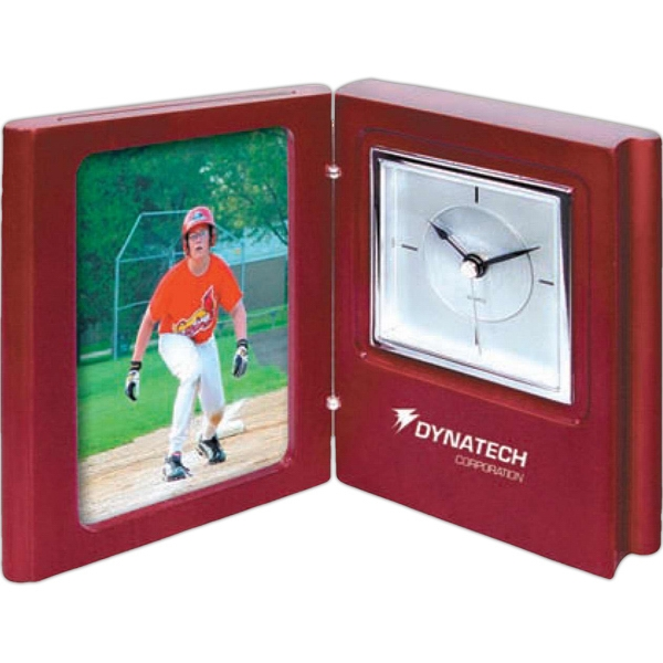 "Popular Book Clock With Picture Frame, Satin Wood Finish. Holds 3"" X 5"" Photo Photo"