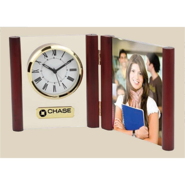 "Glass Desk Alarm Book Clock Photo Frame Which Holds Standard 4"" X 6"" Photo Photo"