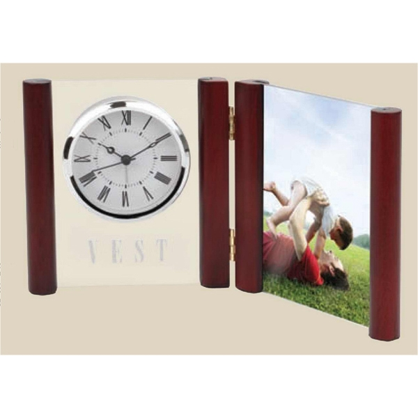 "Glass Desk Alarm Book Clock Photo Frame, Holds Standard 4"" X 6"" Photo Photo"