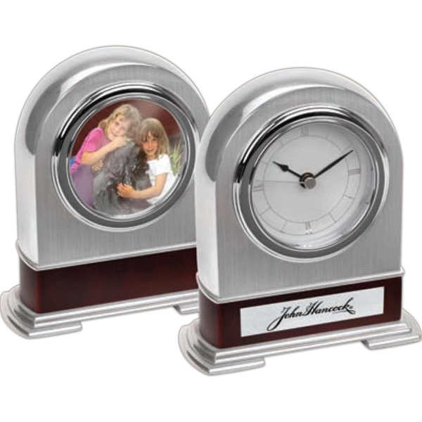 Silver Arched Mantel Clock With Photo Frame On The Back. Modern Look Photo