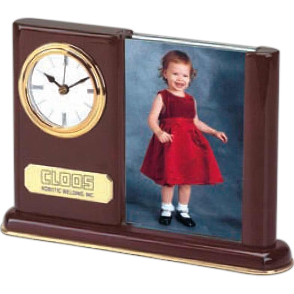 "Clock With Picture Frame, Holds 3"" X 5"" Photos - Double Sided Photo"
