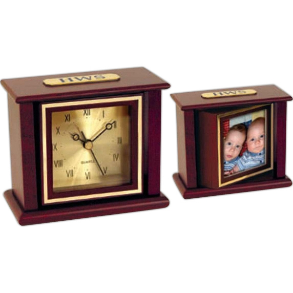 Mahogany Wood Swivel Picture Frame Clock With A Gold Color Spun Metal Dial Photo