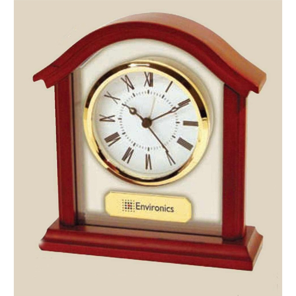 Stylish Arch Alarm Clock Made Of Wood And Glass With Roman Numeral Dial Photo
