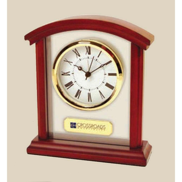 Sculpted Arch Alarm Clock Made Of Wood And Glass With Roman Numeral Dial Photo