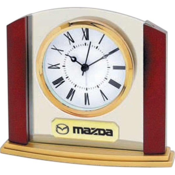 "Glass And Wood Desk Alarm Clock With 3"" Diameter Roman Numeral Dial Set In Glass Photo"