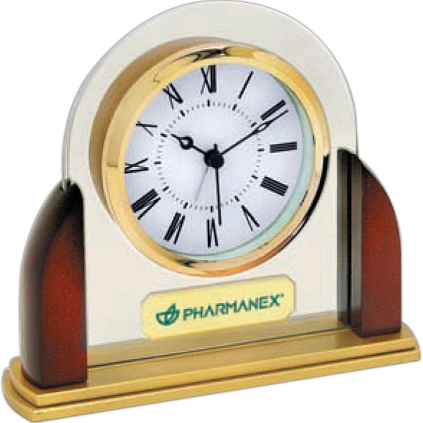 "Glass And Wood Desk Alarm Clock With Roman Numerals On 3"" Diameter Dial Photo"