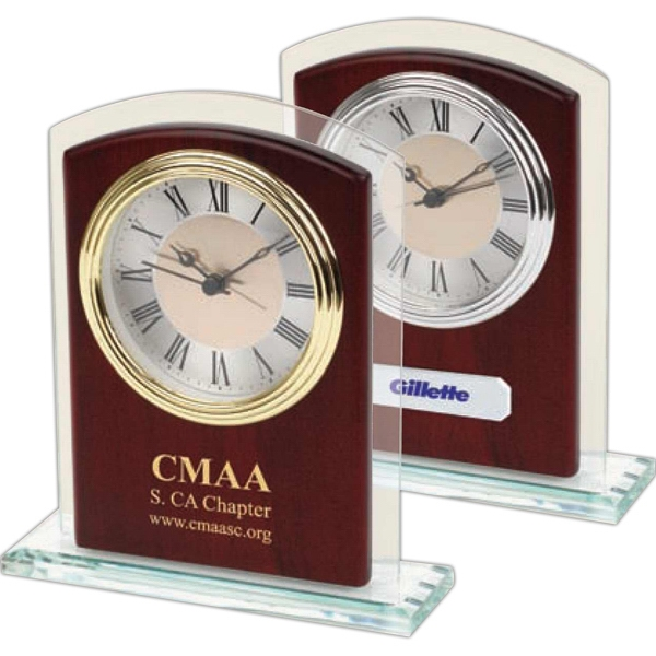 Glass And Wood Desk Silver Alarm Clock In Satin Rosewood Finish With Glass Trim Panel Photo