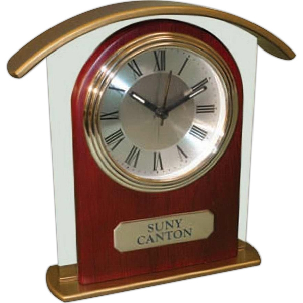 "Tower Glass And Wood Alarm Clock With 3"" Roman Numeral Dial Set In Wood And Glass Photo"