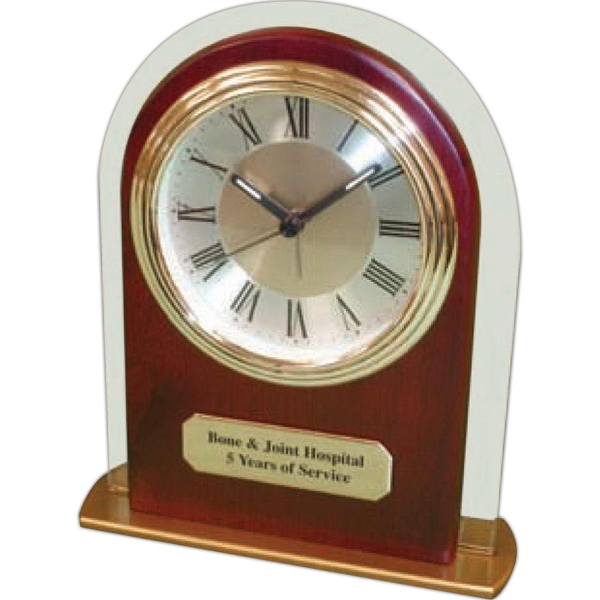 "Panel Glass And Wood Alarm Clock With Arch Shape And 3"" Roman Numeral Dial Photo"