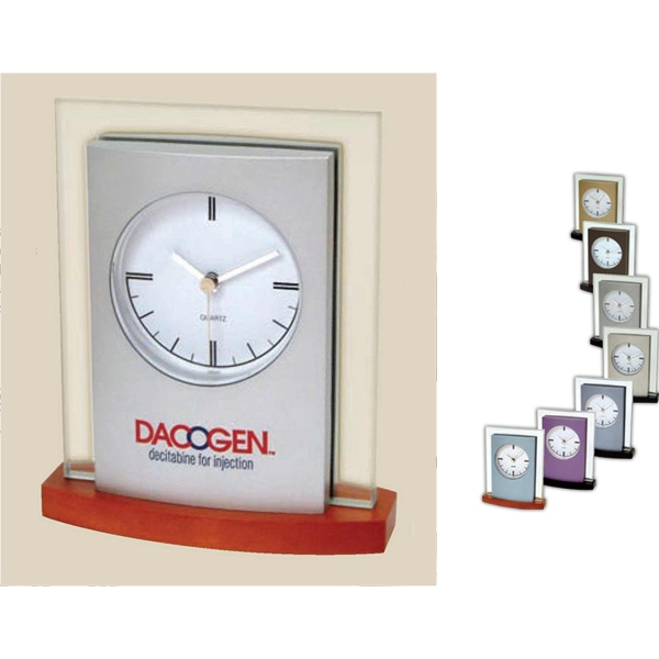 "Desk Top Glass And Wood Clock, 3/8"" Glass, Silver Metallic Finish Panel, Wood Base Photo"