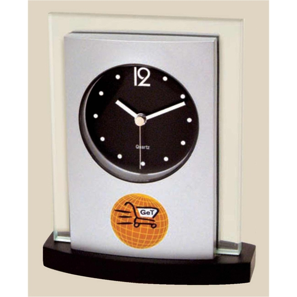 Desk Top Glass And Wood Clock, Silver Metallic Finish Panel On Black Wood Base Photo