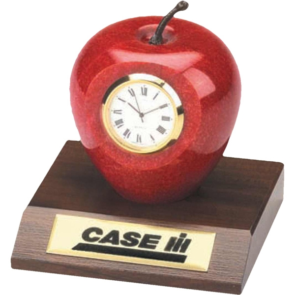 Genuine Marble Apple Clock Makes An Elegant Desk Clock Photo