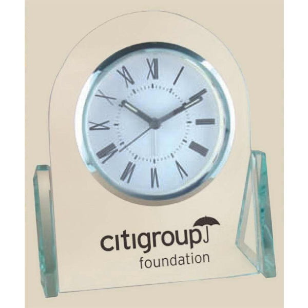 Winged Glass Desk Alarm Clock With Curved Top And Triangular Side Panels Photo