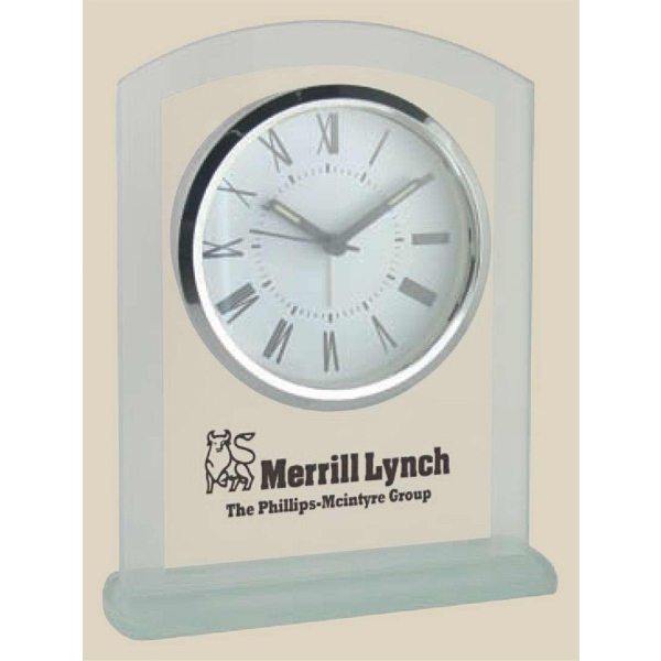 Panel Glass Desk Alarm Clock, Arched Top With Frosted Border And Base Photo