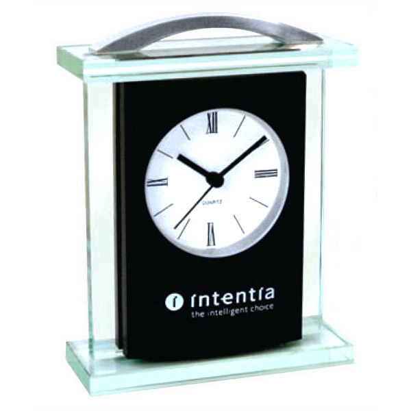 Modern Glass Carriage Clock With Brushed Silver Handle Photo
